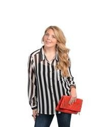 Stanzino Long Sleeve Striped Chiffon Plus Size Button Down Shirt
