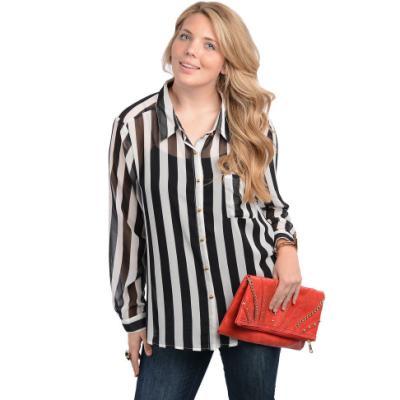 Stanzino Long Sleeve Striped Chiffon Plus Size Button Down