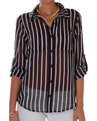 Vertical Stripe Chiffon Blouse