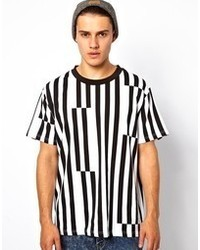 Men's White and Black Vertical Striped T shirts from Asos