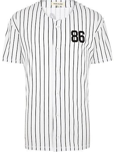 River Island White Stripe Button Down Baseball T Shirt | Where to ...