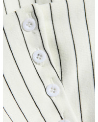 Choies White Spaghetti Strap Vertical Stripe Crop Vest