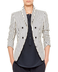 White and Black Vertical Striped Double Breasted Blazer