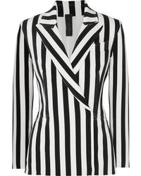 Norma Kamali Double Breasted Striped Stretch Jersey Blazer