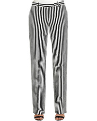White and Black Vertical Striped Dress Pants