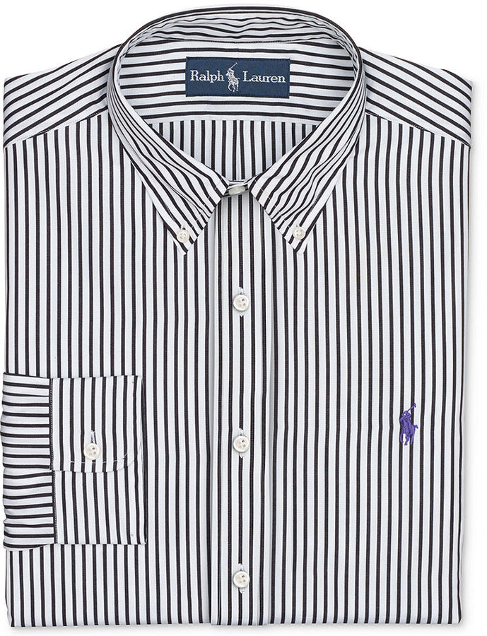 Grey and white striped dress shirt