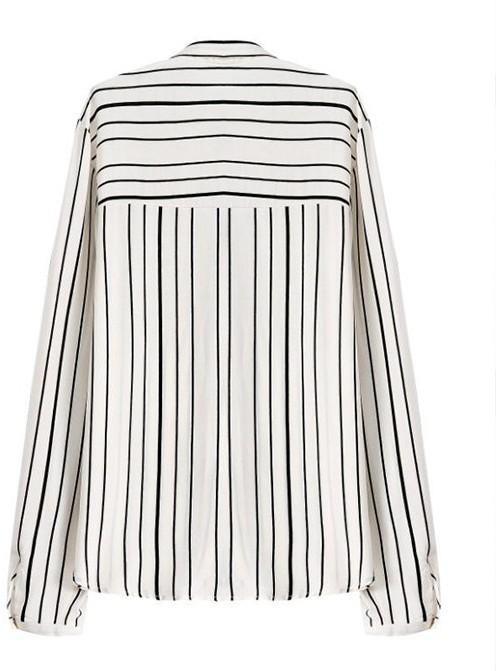 e7cc2da9ed4f88 ChicNova Black White Stripes Long Sleeves Blouse
