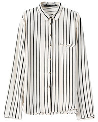 bee5e84eecee32 White and Black Vertical Striped Dress Shirts for Women