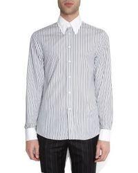 Alexander McQueen Contrast Collar And Cuffs Striped Shirt