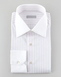 Stefano Ricci Contrast Collar Two Tone Striped Dress Shirt