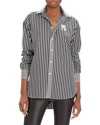 Cotton striped button down shirt medium 6860796