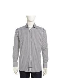 English Laundry Candy Striped Long Sleeve Dress Shirt Blackwhite
