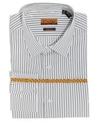 Enzo tovare white black stripe cotton dress shirt medium 417015