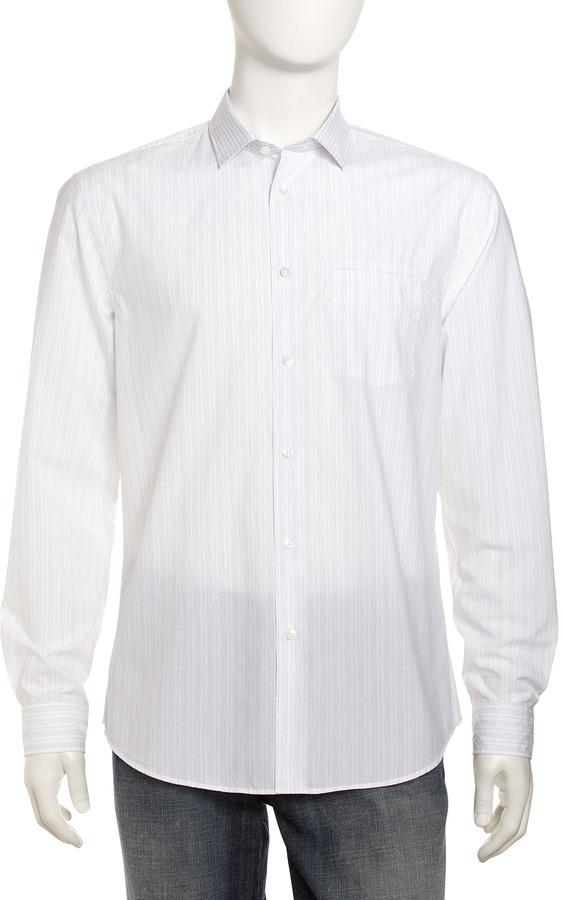 White and Black Vertical Striped Dress Shirt: John ...