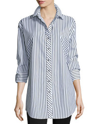 Long sleeve skinny striped big shirt whiteblack medium 6860868