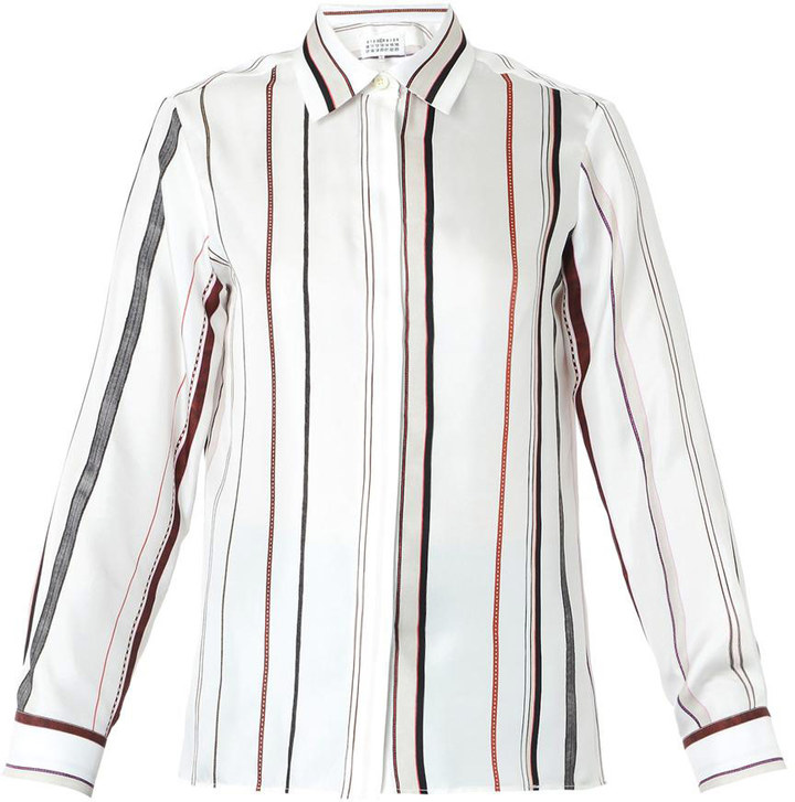 4c50aabafcf2c COM › White and Black Vertical Striped Dress Shirts Maison Margiela Striped  Silk Shirt ...