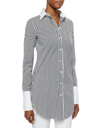 Michael Kors Michl Kors Collection Striped French Cuff Long Dress Shirt