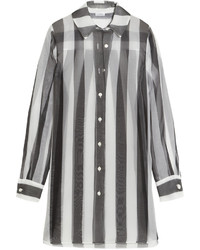 La Perla Seawind Striped Silk Organza Shirt Black