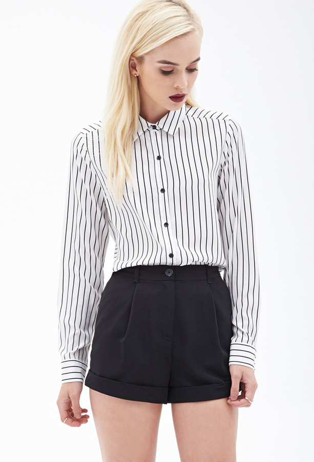 f1d4d87bb148bb Forever 21 Sheer Striped Blouse, $19 | Forever 21 | Lookastic.com