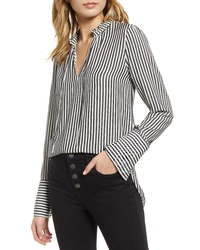 Treasure & Bond Stripe Ruffle Neck Shirt