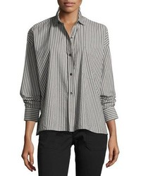 Vince Striped Boxy Button Front Cotton Shirt
