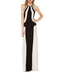 Chicnova black and white stripe evening dress medium 321079