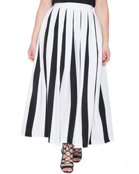 White and Black Vertical Striped Full Skirt