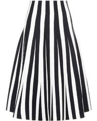 Alexander Wang Black Striped Ponte Flared Skirt