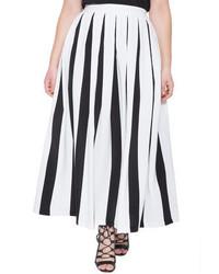 Eloquii plus size studio pleated stripe skirt medium 493392