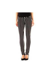 White and Black Vertical Striped Jeans
