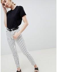 ASOS DESIGN Pencil Straight Leg Jeans In Mono Stripe Print