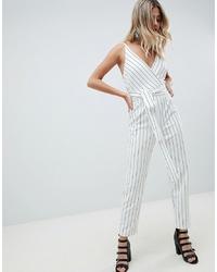 White and Black Vertical Striped Jumpsuit