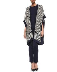 Misook Striped Open Kimono Cardigan
