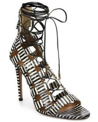 Amazon striped leather lace up sandals medium 195409