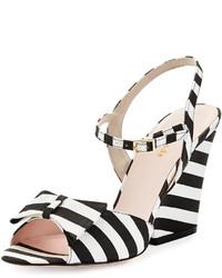 New york imari striped grosgrain sandal blackwhite medium 195410