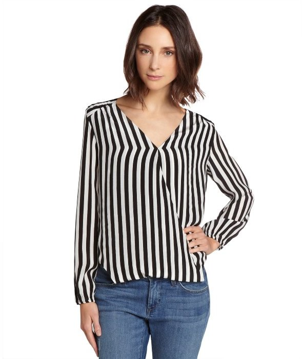 Chelsea flower black and white striped silk crossover blouse where chelsea flower black and white striped silk crossover blouse mightylinksfo