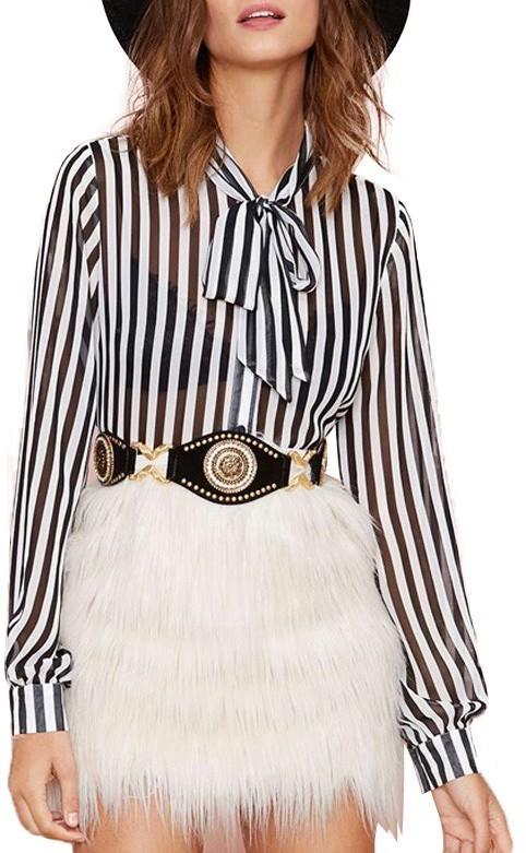 c4294d78807904 ... Long Sleeve Blouses ChicNova British Black White Stripes Blouse