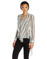 BCBGMAXAZRIA Keslyn Striped Blouse With Side Cascade Drape