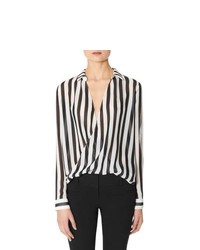The limited striped wraplook layering blouse medium 162488