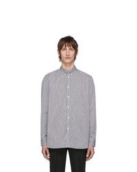 Givenchy White And Black Logo Patch Stripe Shirt