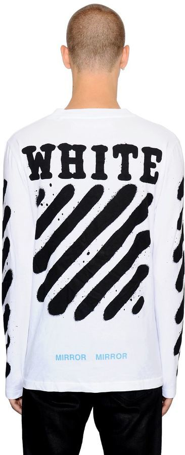 84e0eb6413f0 ... Off-White Spray Stripes Long Sleeve Jersey T Shirt ...