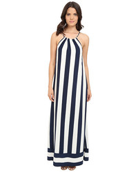 White and Black Vertical Striped Maxi Dress