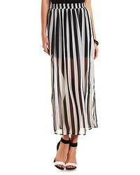 Charlotte Russe Striped Chiffon Maxi Skirt