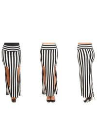 Stanzino Black White Striped Maxi Skirt With Double Slit