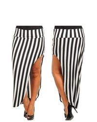 Stanzino Striped Asymmetric Hem Maxi Skirt