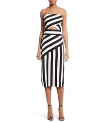 White and Black Vertical Striped Midi Dress