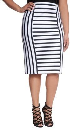 036b91e8d5 ... White and Black Vertical Striped Pencil Skirts ELOQUII Plus Size Mixed Stripe  Pencil Skirt ...
