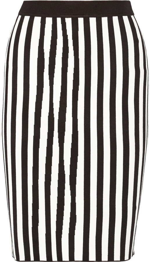 5897daf8ca ... White and Black Vertical Striped Pencil Skirts A.L.C. Jake Striped  Stretch Knit Pencil Skirt ...