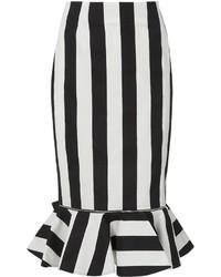 Klen Monochrome Cotton Zip Peplum Skirt