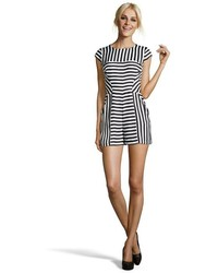 Ivy & Blu Ivy Blu Black And White Striped Crepe Cap Sleeve Romper